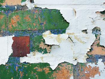 Peeling Paint on Brick Wall